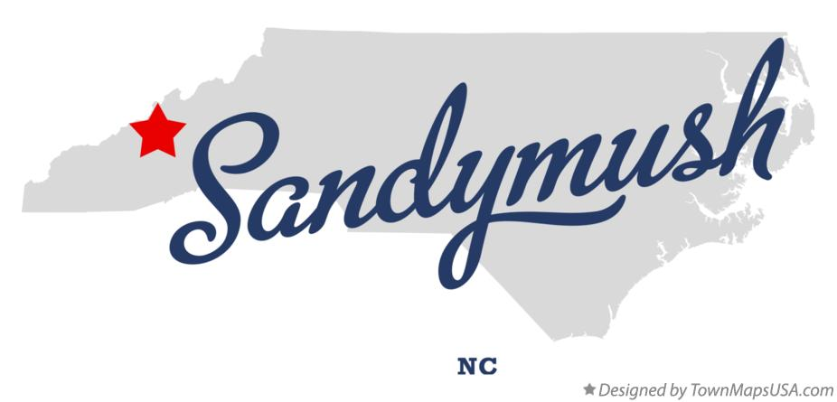 Map of Sandymush North Carolina NC