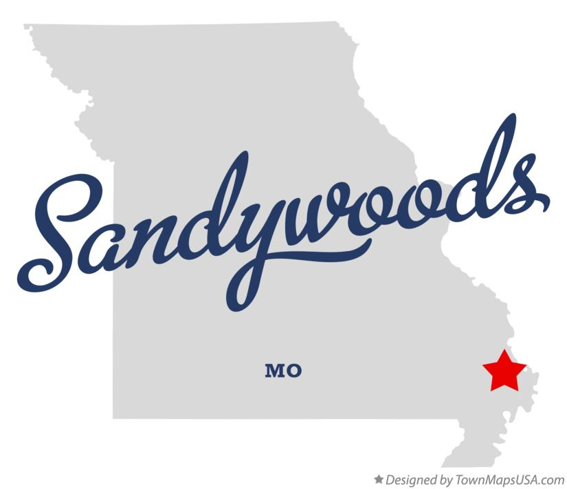 Map of Sandywoods Missouri MO