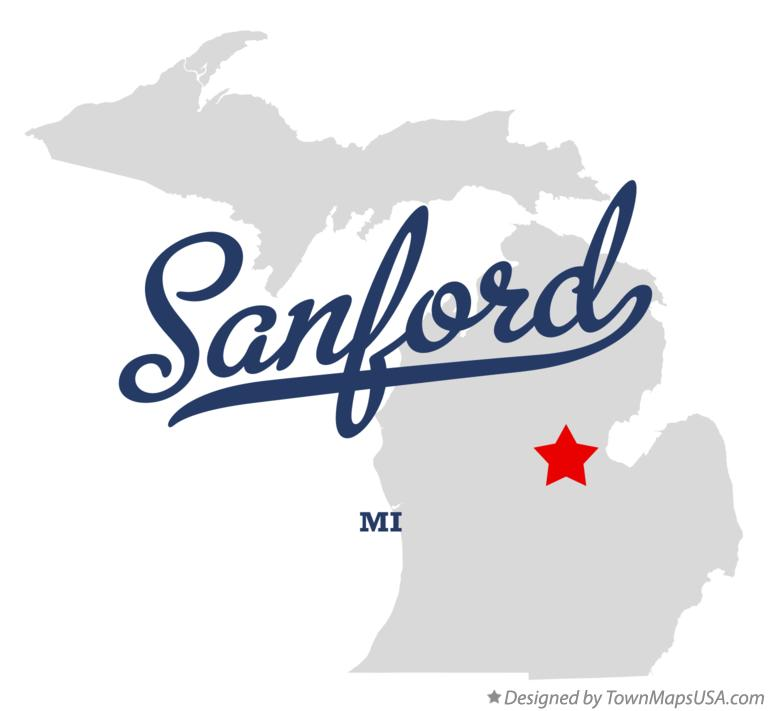 Map of Sanford Michigan MI