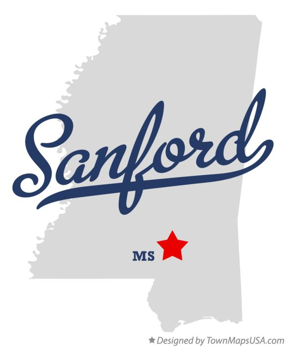 Map of Sanford Mississippi MS