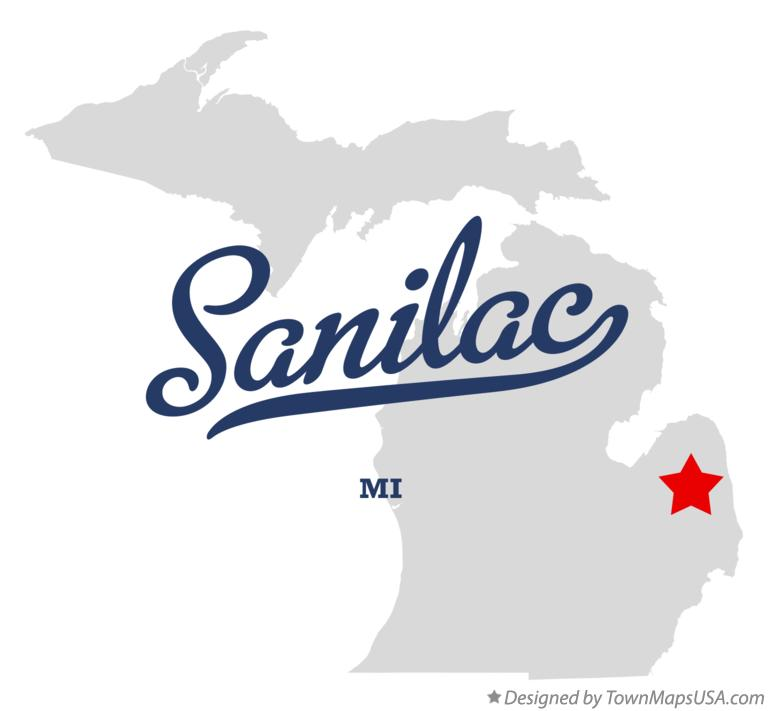 Map of Sanilac Michigan MI