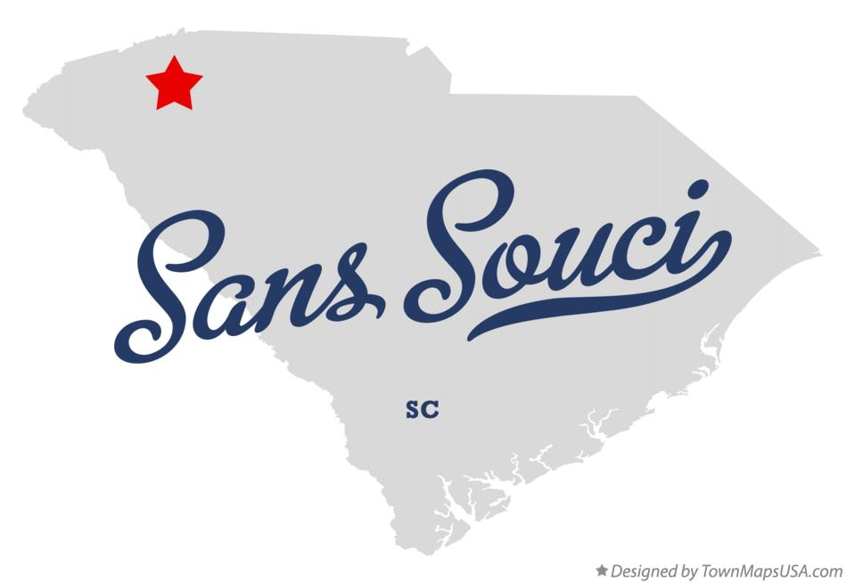 Map of Sans Souci South Carolina SC