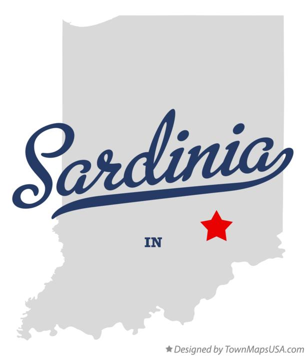 Map of Sardinia Indiana IN