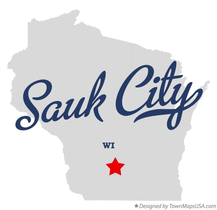Map of Sauk City Wisconsin WI