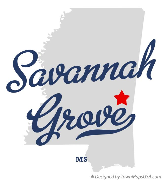 Map of Savannah Grove Mississippi MS