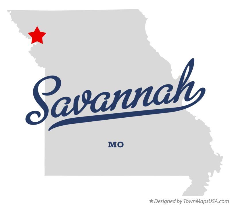 Map of Savannah Missouri MO
