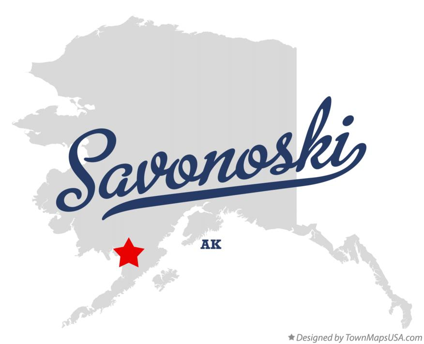 Map of Savonoski Alaska AK