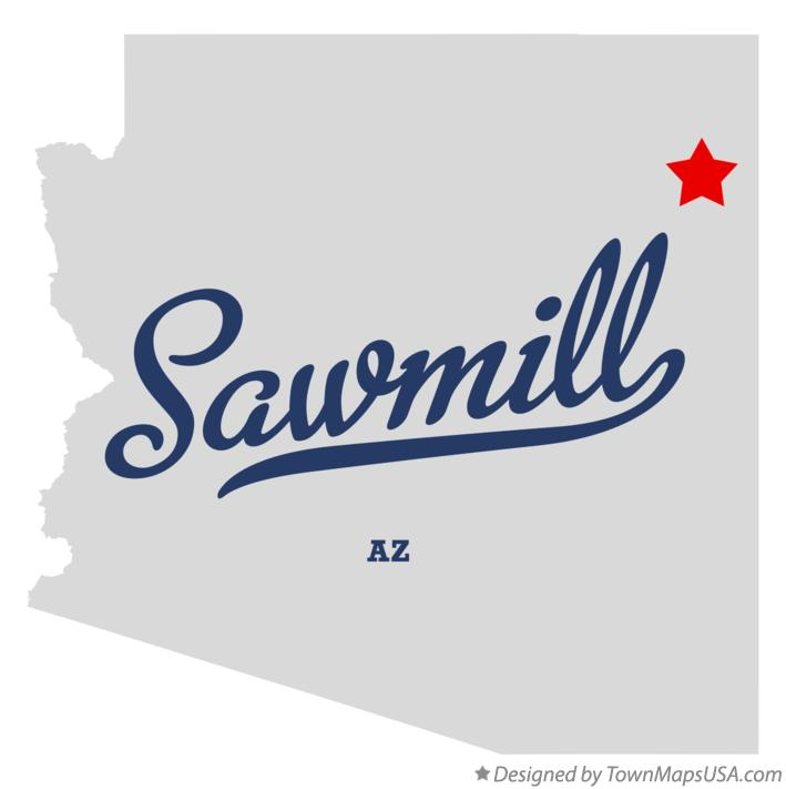 Map of Sawmill Arizona AZ