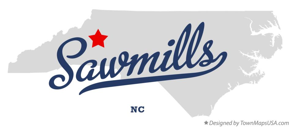 Map of Sawmills North Carolina NC