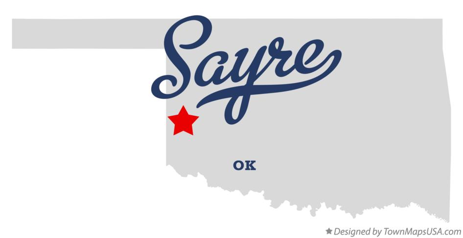 Map of Sayre Oklahoma OK