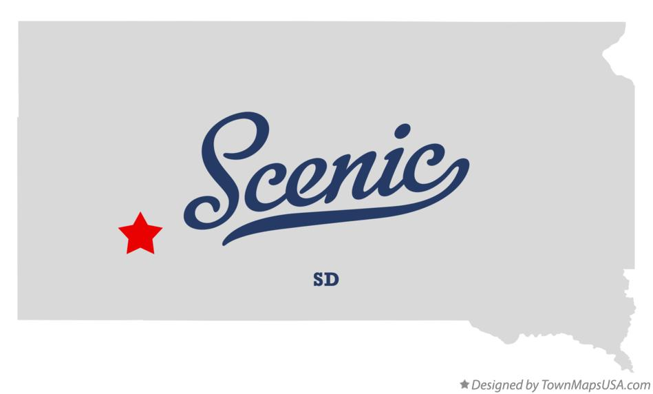 Map of Scenic South Dakota SD