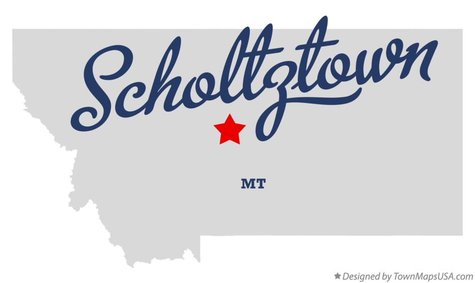 Map of Scholtztown Montana MT