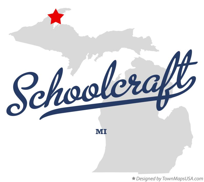 Map of Schoolcraft Michigan MI