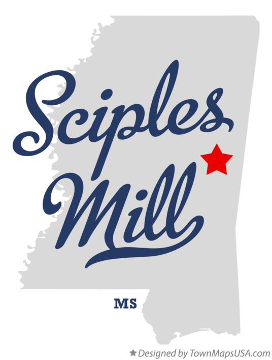 Map of Sciples Mill Mississippi MS