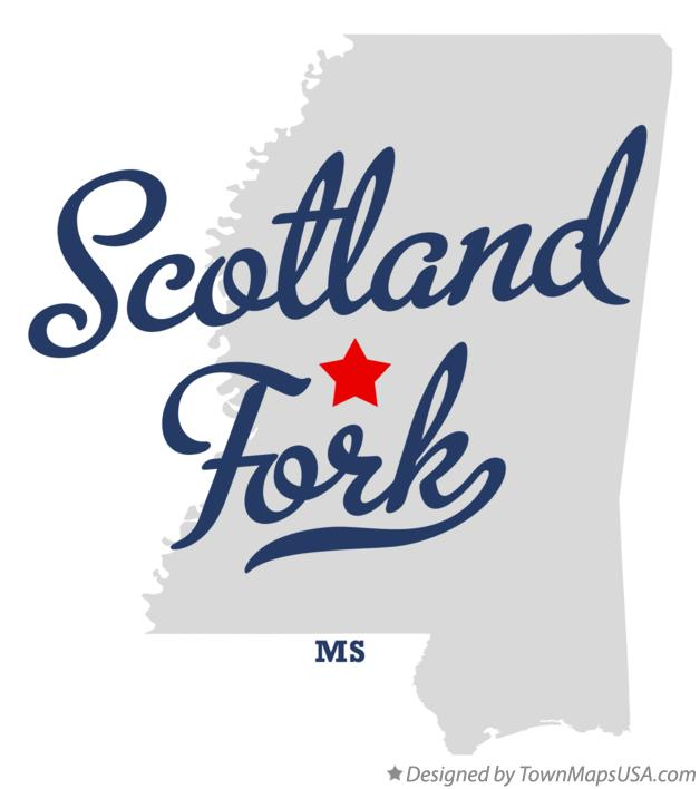 Map of Scotland Fork Mississippi MS