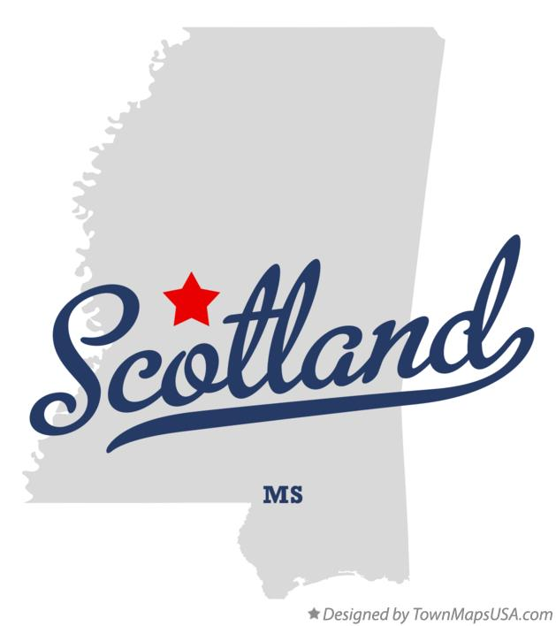 Map of Scotland Mississippi MS
