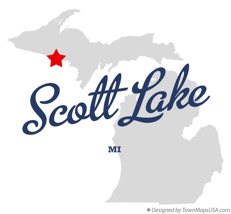 Map of Scott Lake Michigan MI