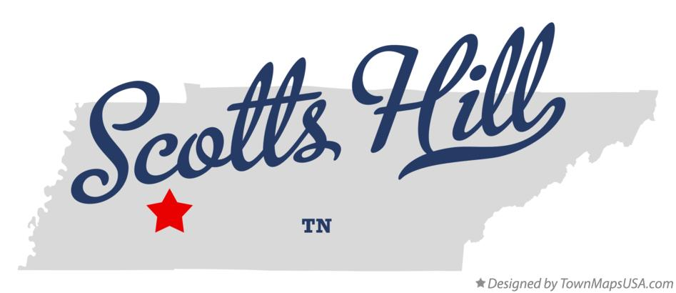 Map of Scotts Hill Tennessee TN