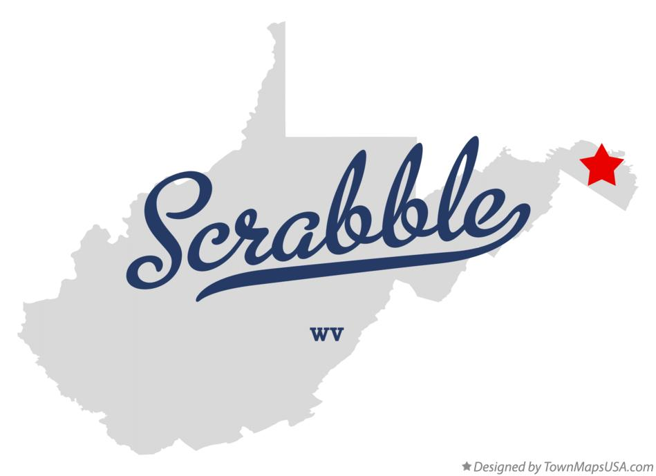 Map of Scrabble West Virginia WV