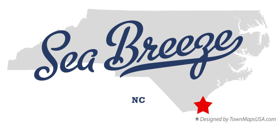 Map of Sea Breeze North Carolina NC
