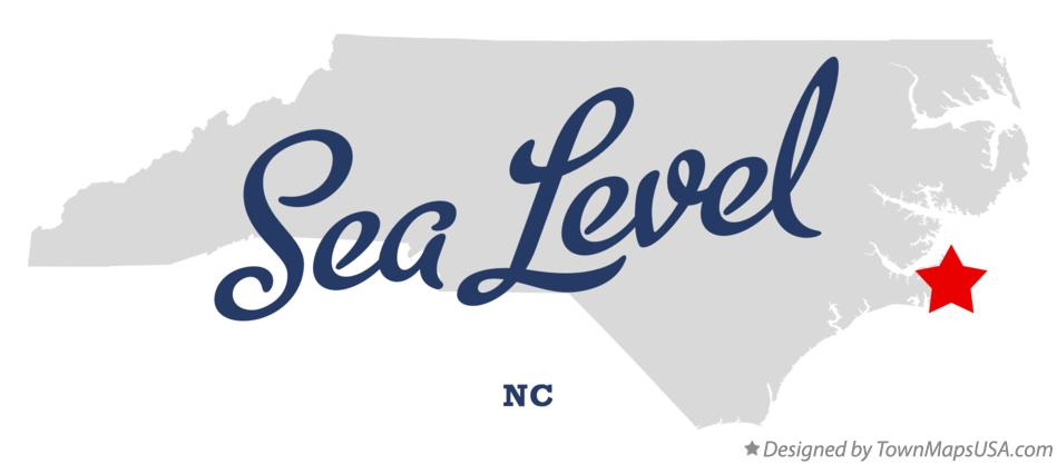 Map of Sea Level North Carolina NC