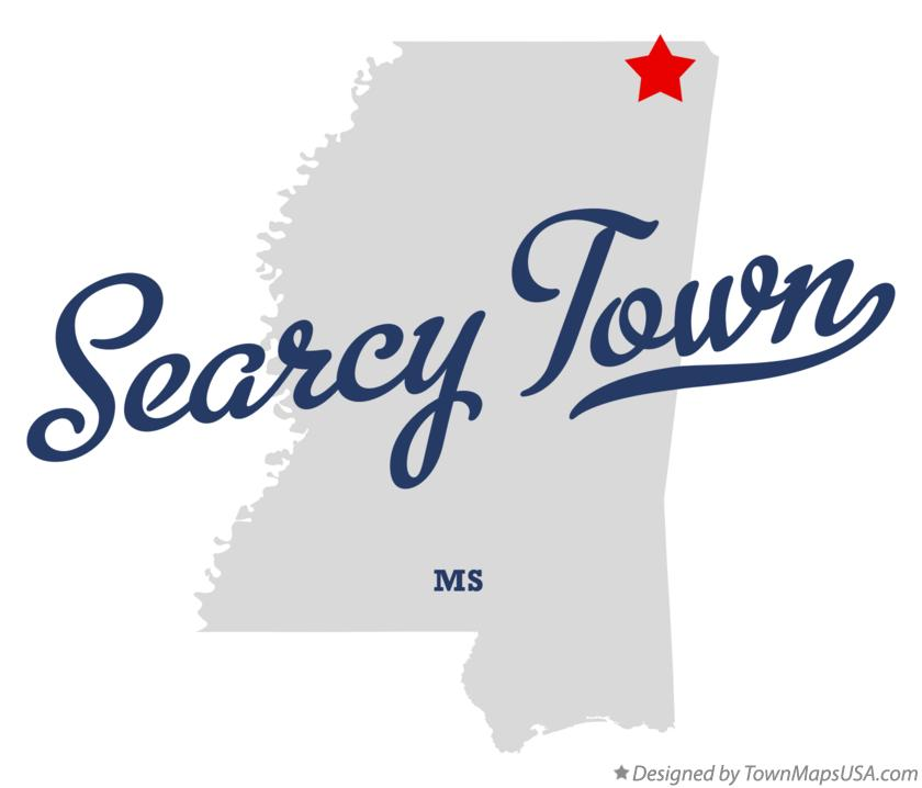 Map of Searcy Town Mississippi MS