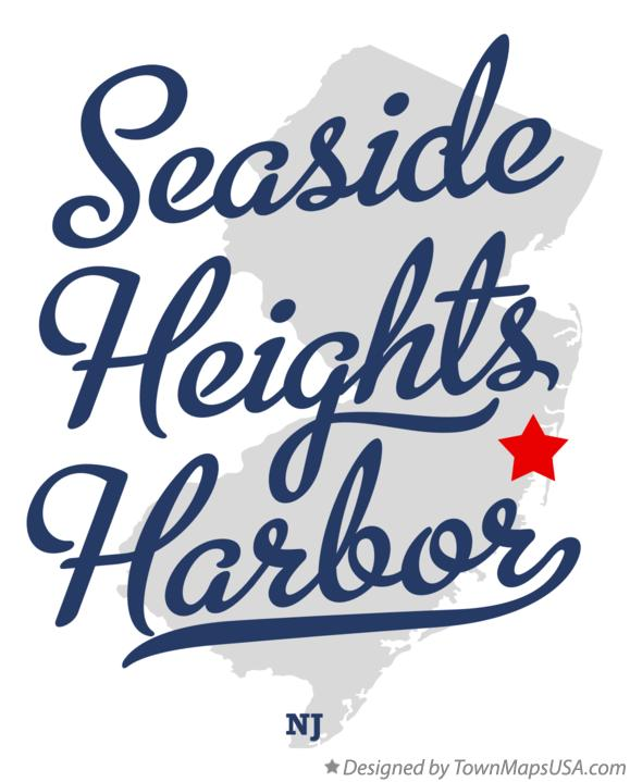 Map of Seaside Heights Harbor New Jersey NJ