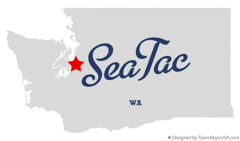 Map of SeaTac Washington WA