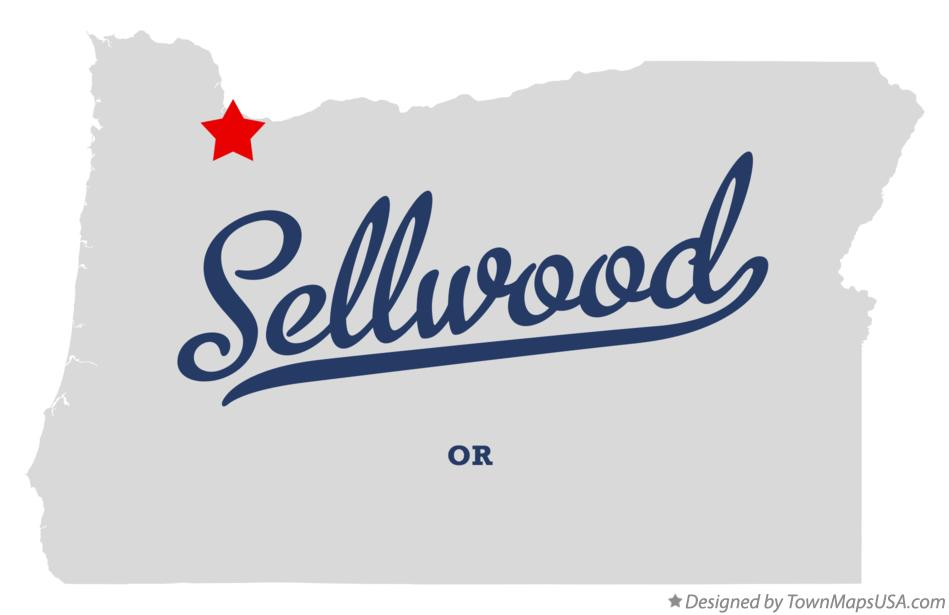 Map of Sellwood Oregon OR