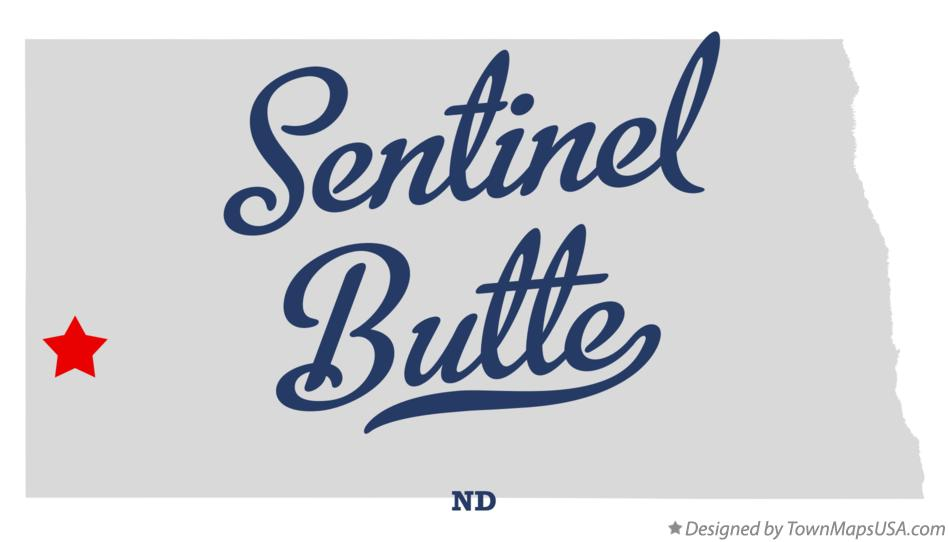 Map of Sentinel Butte North Dakota ND