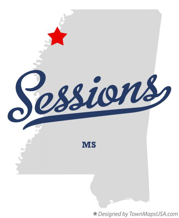 Map of Sessions Mississippi MS