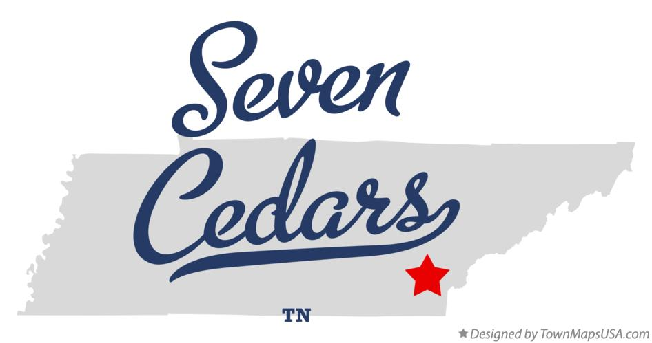 Map of Seven Cedars Tennessee TN