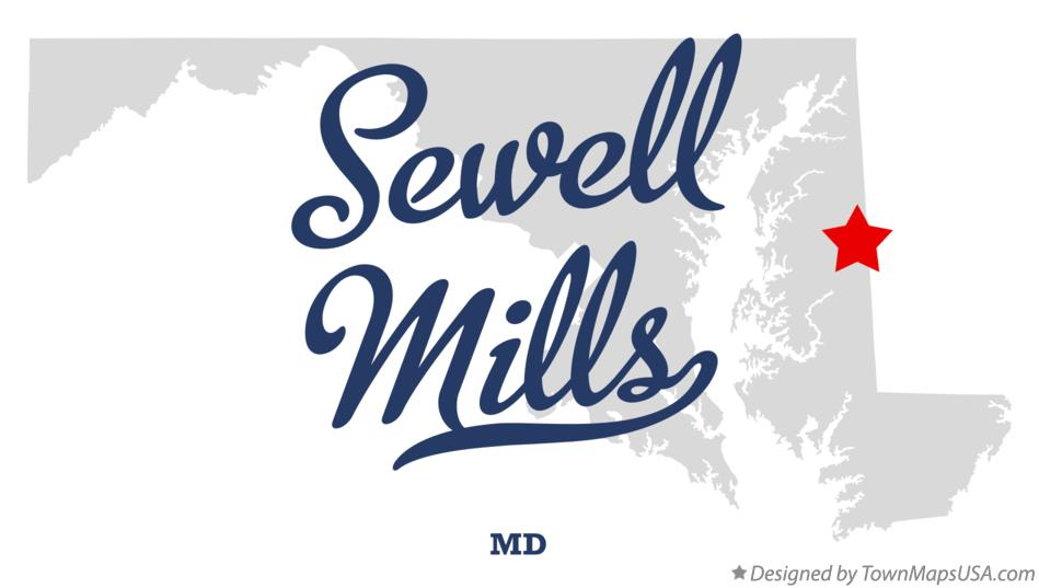 Map of Sewell Mills Maryland MD
