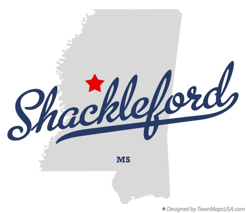 Map of Shackleford Mississippi MS