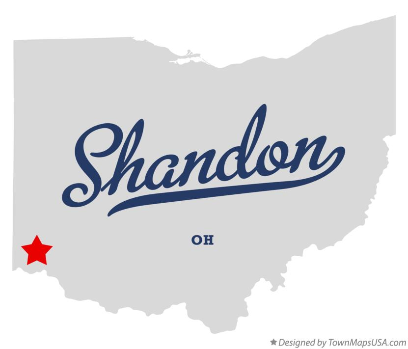 Map of Shandon Ohio OH