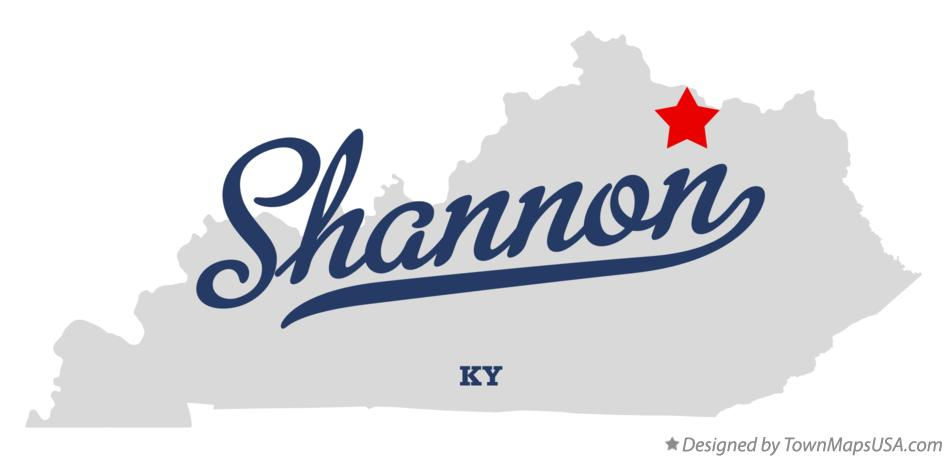 Map of Shannon Kentucky KY