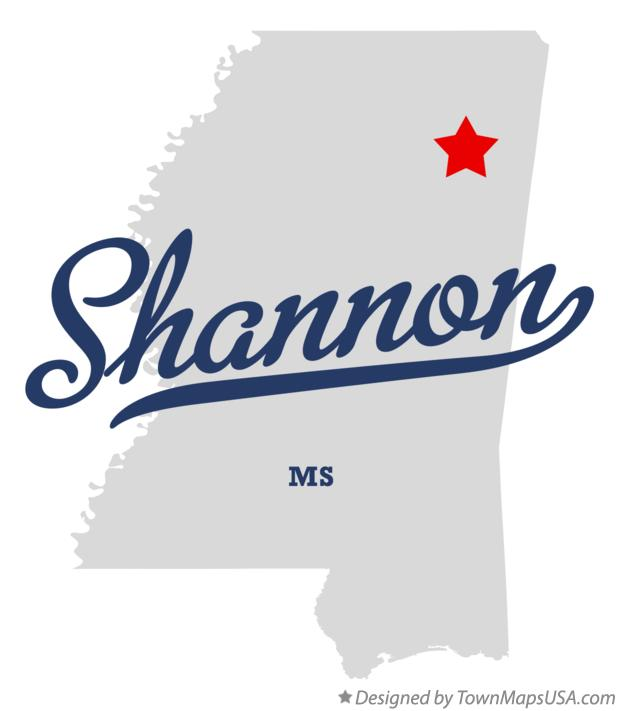 Map of Shannon Mississippi MS