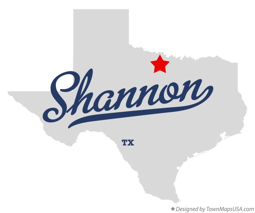 Map of Shannon Texas TX