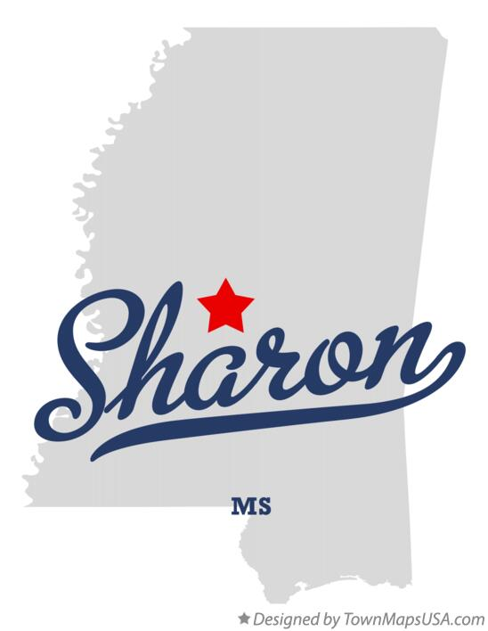 Map of Sharon Mississippi MS