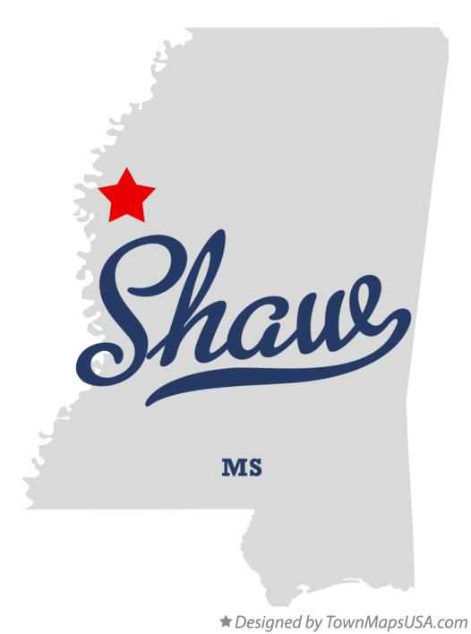 Map of Shaw Mississippi MS