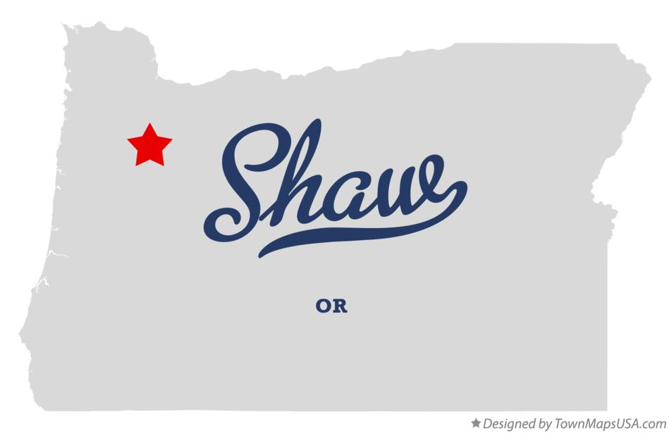 Map of Shaw Oregon OR