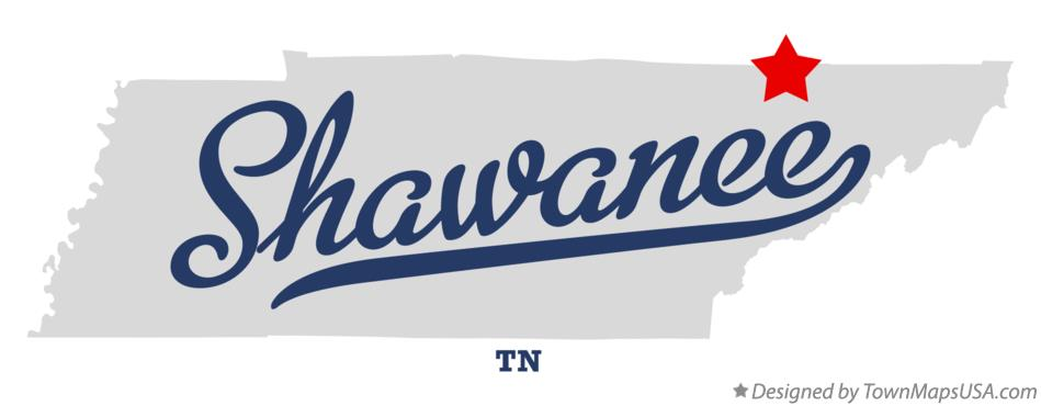 Map of Shawanee Tennessee TN