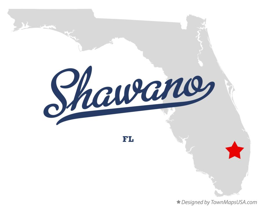 Map of Shawano Florida FL