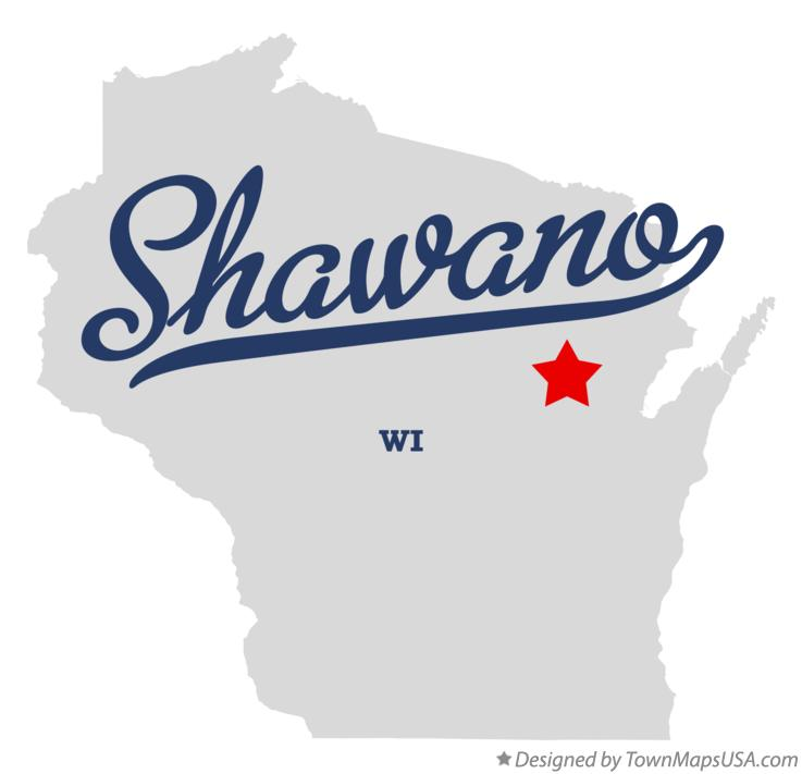 Map of Shawano Wisconsin WI