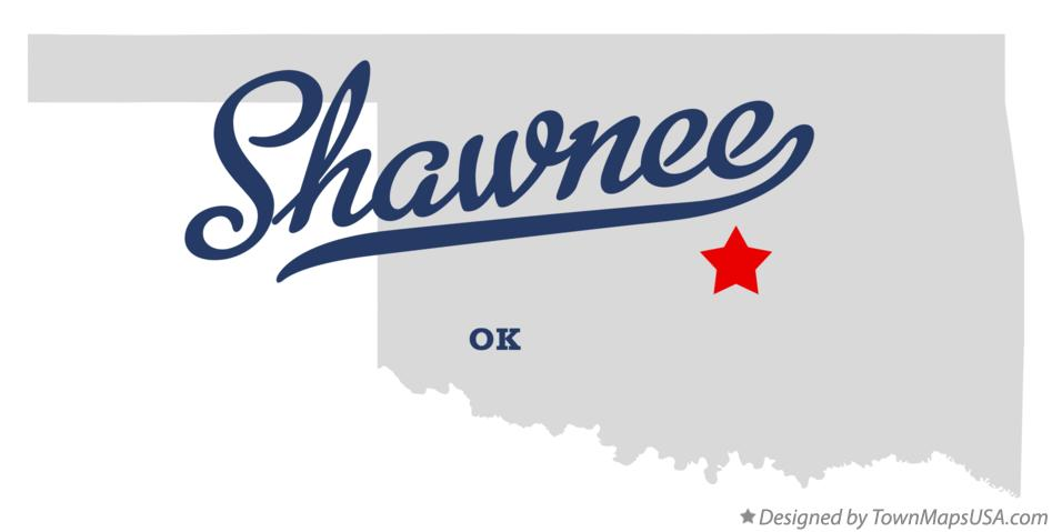Map of Shawnee Oklahoma OK