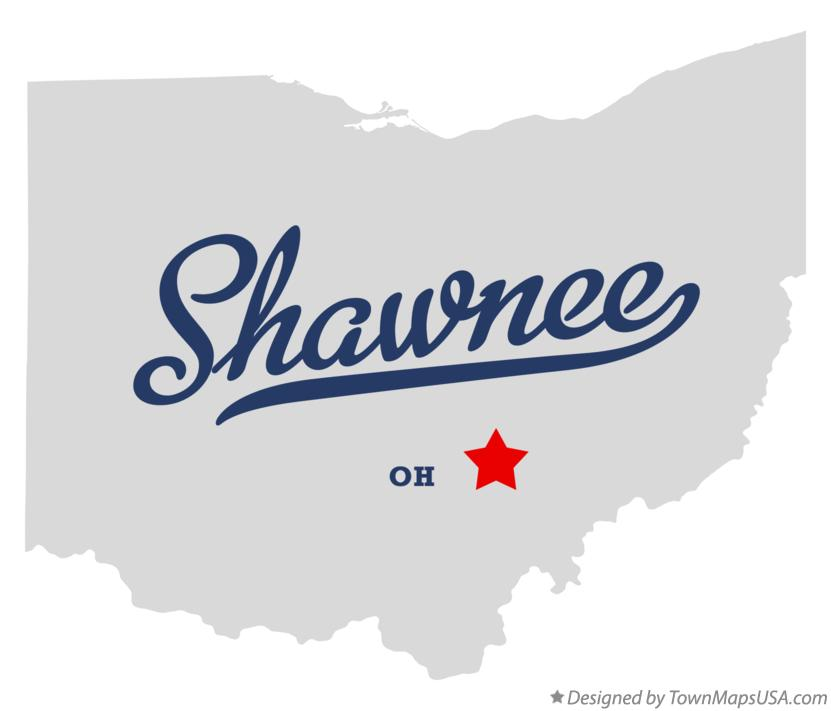 Map of Shawnee Ohio OH