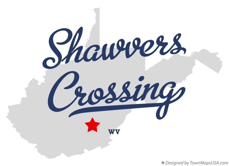 Map of Shawvers Crossing West Virginia WV