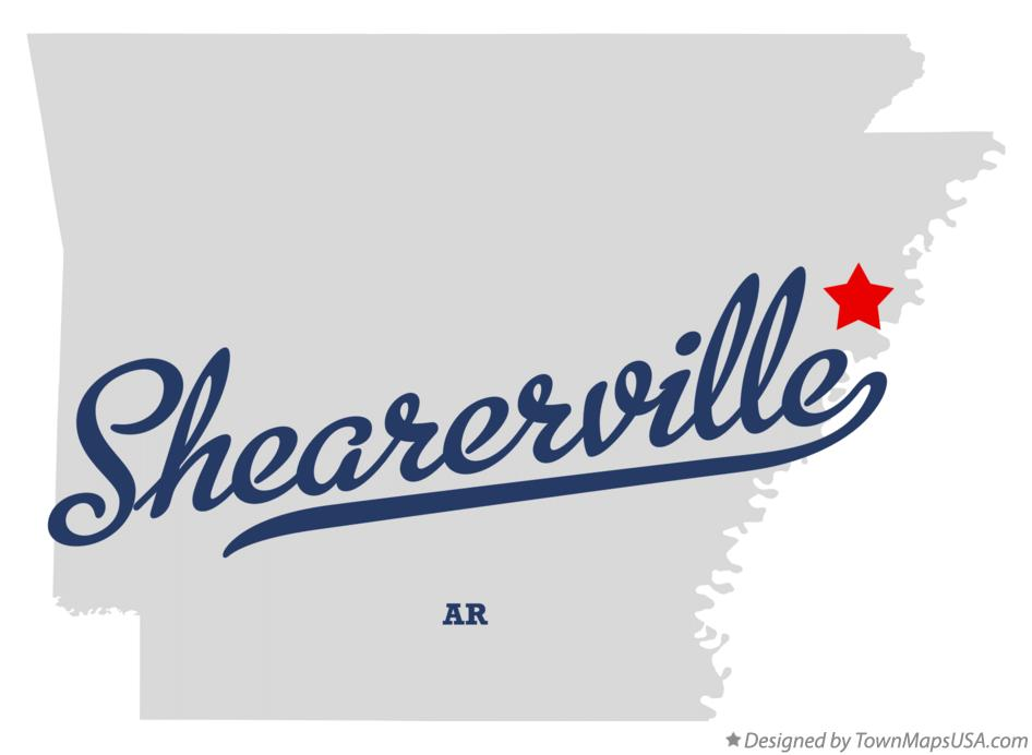 Map of Shearerville Arkansas AR