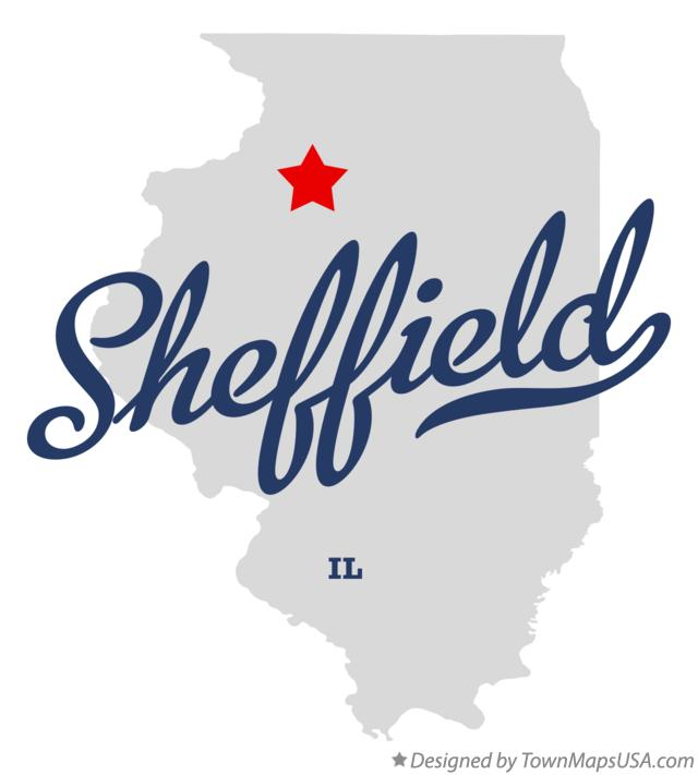 Map of Sheffield Illinois IL
