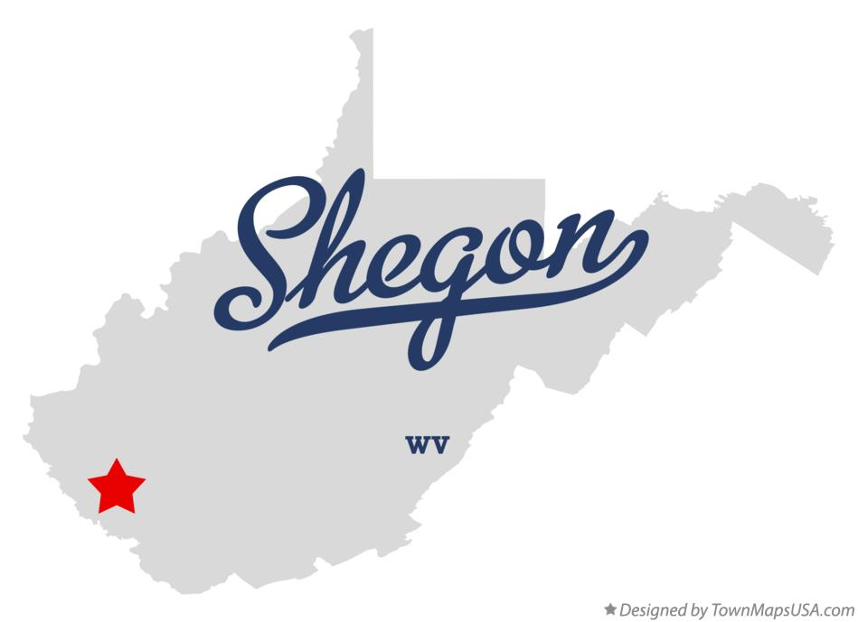 Map of Shegon West Virginia WV